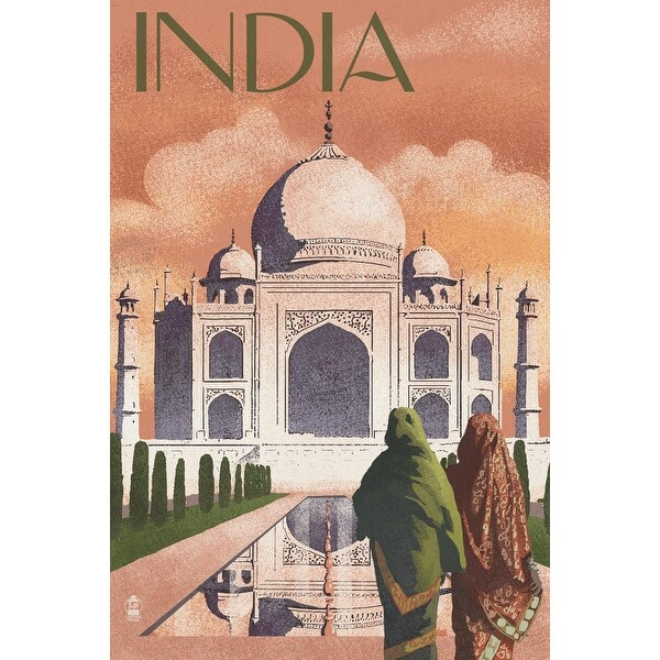 Taj Mahal, India - Lithograph Style - LP Artwork (Acrylic Wall Clock)