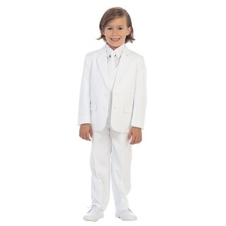 Baby Boys White Jewels & Gents Jacket Vest Shirt Tie Pants 5 Pc Suit