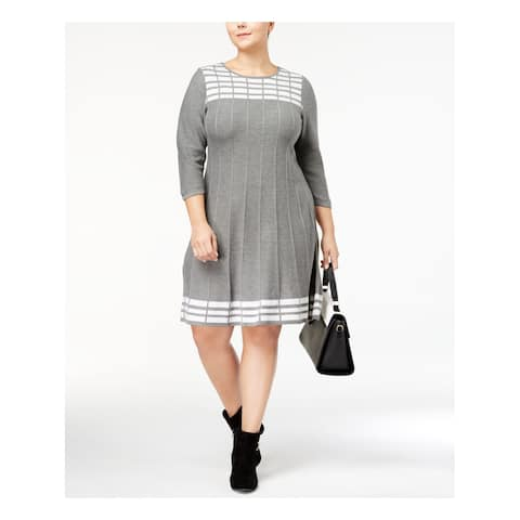 JESSICA HOWARD Womens Gray Sweater 3/4 Sleeve Jewel Neck Above The Knee Fit + Flare Wear To Work Dress Plus Size: 2X