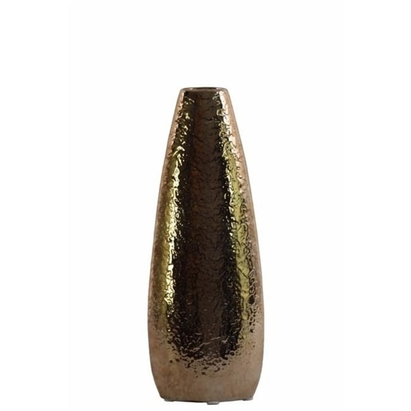 Benzara BM134203 Oval Vase with Recessed Lip & Hammered Design - Gold - 6 x 3 x 16 in. & Small
