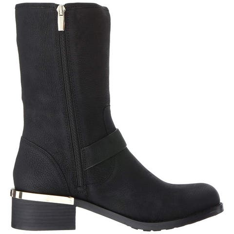 Vince Camuto Womens Windy Leather Round Toe Mid-Calf Motorcycle Boots