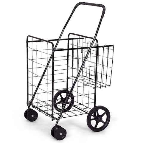 Jumbo Basket for Grocery Laundry Travel w/ Swivel Wheels