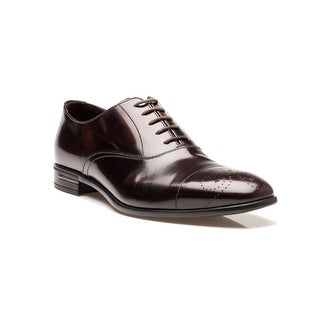 Prada Men's Leather Oxford Lace-Up Dress Shoes Brown