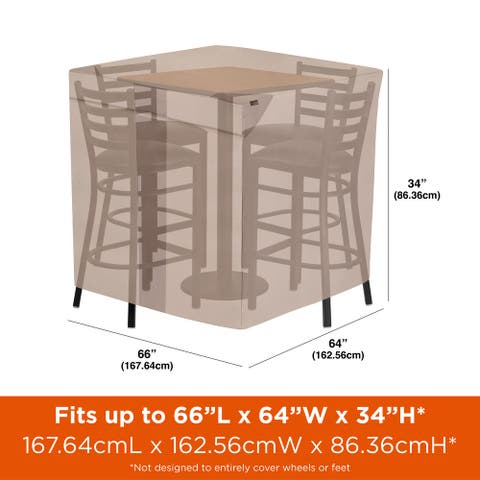 """Modern Leisure Monterey Outdoor Patio Table & Chairs Cover, Square Bar Height, 64"""" D x 66"""" W x 34"""" H, Beige"""
