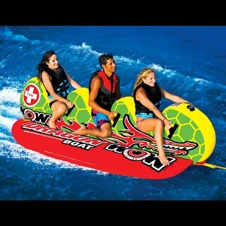 WOW Sports Dragon Boat 3 Person Towable Water Tube For Pool and Lake (13-1060)