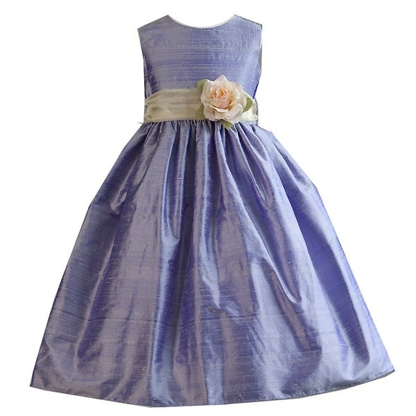 84ae038f458 Crayon Kids Girls Purple Flower Sash Poly Silk Special Occasion Dress 8-10