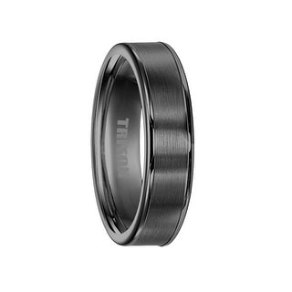 ALDEN Flat Brushed Center Black Tungsten Ring by Triton Rings - 8mm