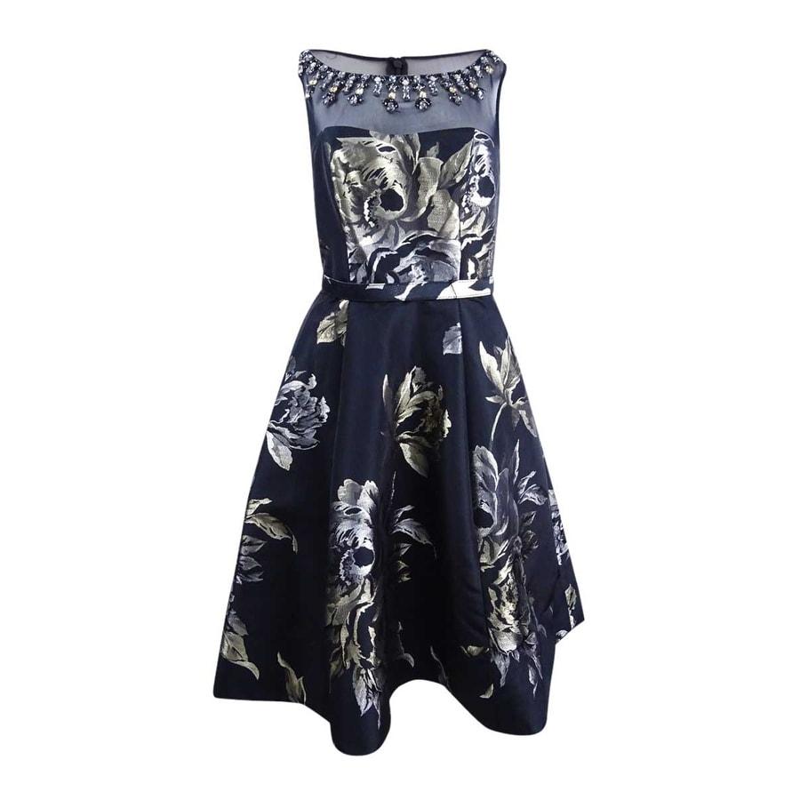 Vince Camuto Womens Metallic-Print Fit /& Flare Dress