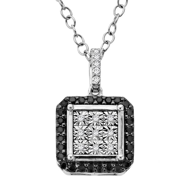 1/5 ct Black & White Diamond Square Pendant in Sterling Silver