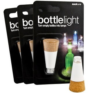 LED Cork Bottle Light with USB Charging and Twist On/Off - Set of Three - brown