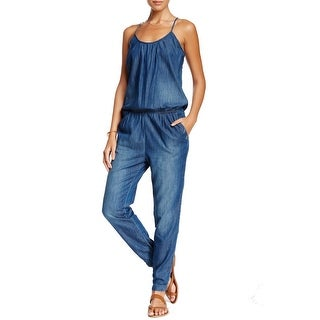 Chip Foster NEW Blue Women's Size Small S Gathered Denim Solid Jumpsuit