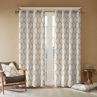 Link to Madison Park Asher Metallic Geo Embroidered Window Panel Similar Items in Curtains & Drapes