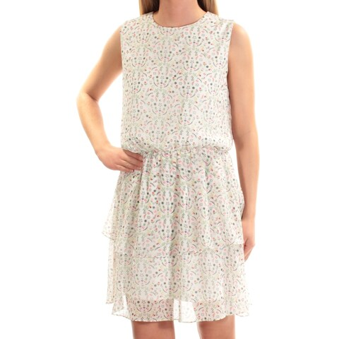 CYNTHIA ROWLEY Ivory Floral Sleeveless Jewel Neck Above The Knee Fit + Flare Dress Size: XS