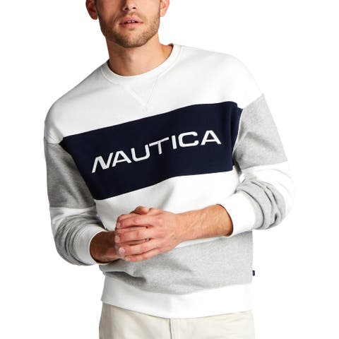 Nautica Blue Mens Crew Sweatshirt Fleece Logo
