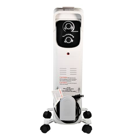 Comfort Zone CZ8008 Silent Electric Oil-Filled Radiator Heater with 360-Degree Swivel Casters, Gray