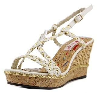 Two Lips Hazel Women Open Toe Synthetic White Wedge Sandal