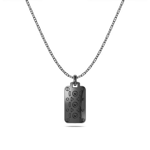 Simon Pagenaud Engine Block Large Pendant Necklace In Sterling Silver