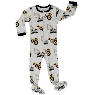 Elowel Little Boys Grey Bulldozer Print Zipper Footed Pajama Sleeper 2-5