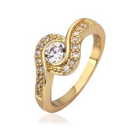 Gold Plated Swirl Design Crystal Jewel Ring