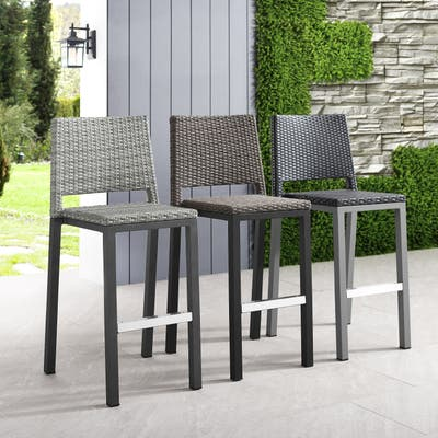 Plymouth Patio Aluminum 30-inch Outdoor Wicker Bar Stools (Set of 4) by Havenside Home