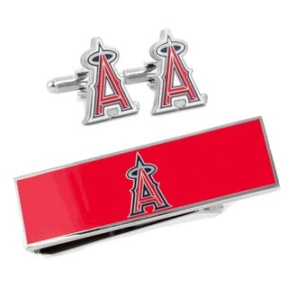 Los Angeles Angels Cufflinks and Money Clip Gift Set MLB - Red