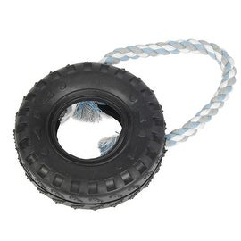 Black Mini TPR Rubber Tire with Blue Gray and White Ropie Durable Puppy Dog Chew Toy