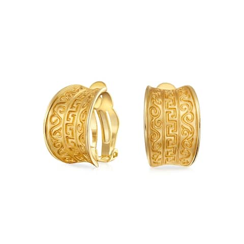 Egyptian Greek Design Wide Clip On Earrings Style Matte Gold Plated