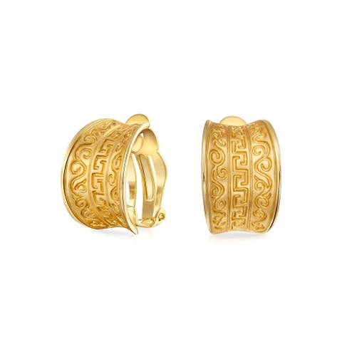 Egyptian Greek Design Wide Clip On Earrings Style Matte Gold Plated - 19