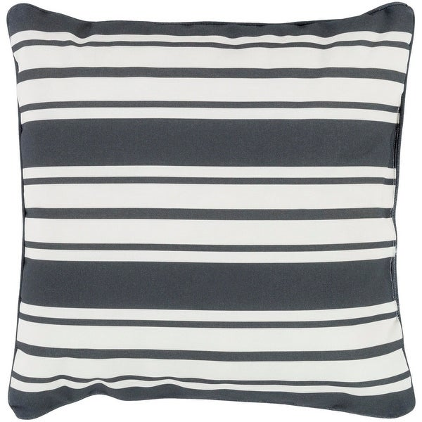 "20"" Striped In Color Onyx Black and Ivory White Decorative Throw Pillow"