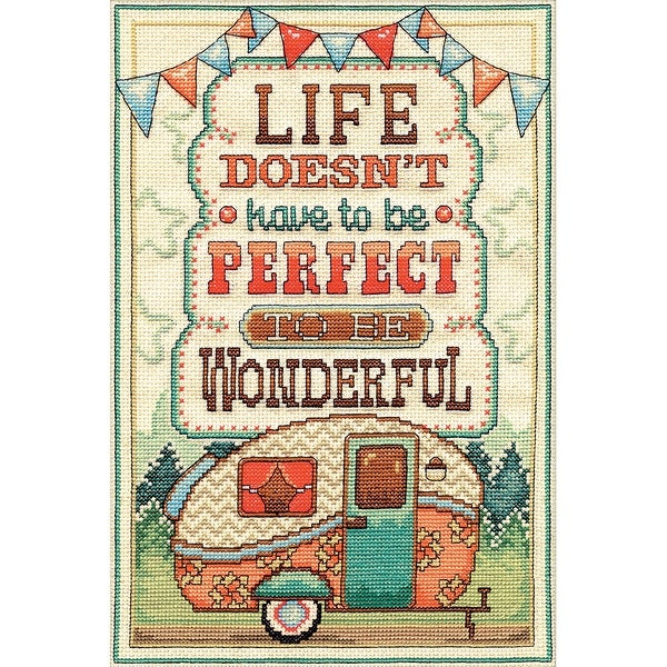 "Life Is Wonderful Counted Cross Stitch Kit-8""X12"" 14 Count"