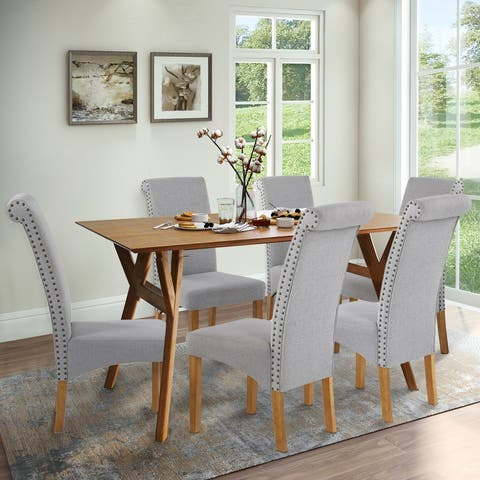 AOOLIVE 6PCS Kitchen Dining Chair Set Fabric Padded, Nailed Trim(Gray)