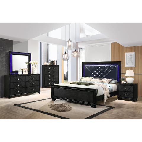 Bryson Black and Midnight Star 4-piece Bedroom Set
