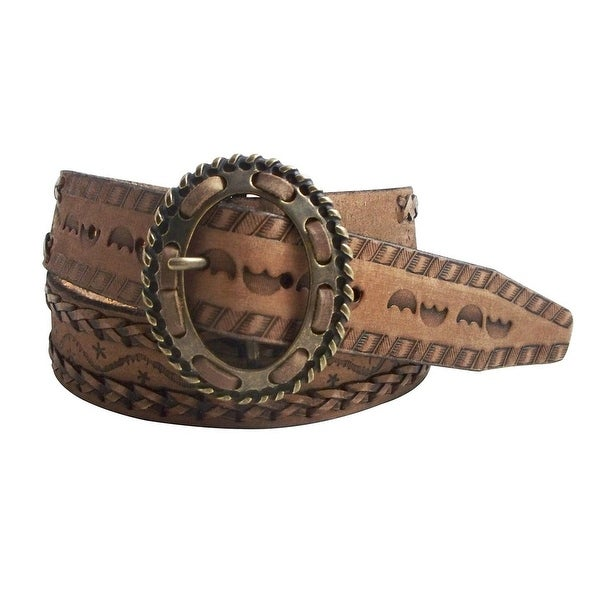 Cowgirls Rock Western Belt Womens Embossed English Tan