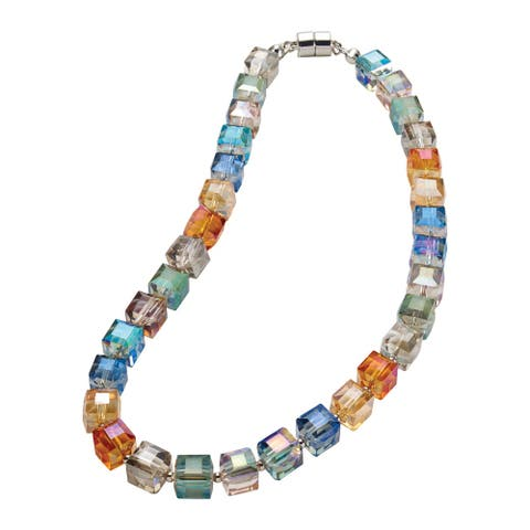 Origin Jewelry Women's Crystal Cubes Necklace - Glass Beads, Magnetic Clasp