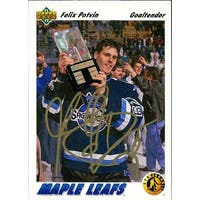 Signed Potvin Felix Toronto Maple Leafs 1991 Upper Deck Hockey Card autographed