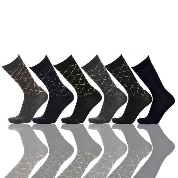 Little Dots Diamond Men's Colorful Crew Socks (Size 10-13) 6 Assorted Pairs