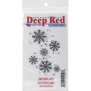 Deep Red Stamps Snowflake Background Rubber Cling Stamp - 2 x 3