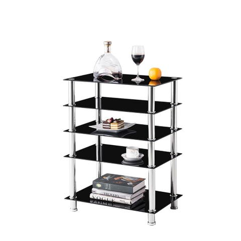 5-Tier Media Multi-Function TV Stand with Mount and Storage Shelves , Display Rack Multipurpose Shelving Unit Top Glass 88 Lbs