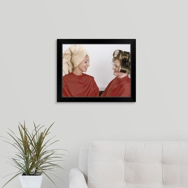 """""""Two Women at Hairdresser"""" Black Framed Print"""