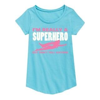 I'm Really A Superhero Don't Tell, Girl - Youth Girl Short Sleeve Curved Hem Tee