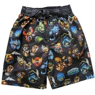 Skylander Little Boys Black Blue Cartoon Print UPF 50+ Swimwear Shorts