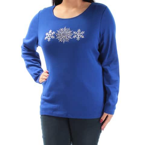 KAREN SCOTT Womens Blue Rhinestone Snow Flake Long Sleeve Scoop Neck Top Size: XL