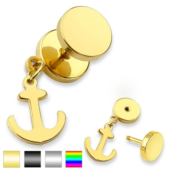 Ship Anchor Dangle Surgical Steel Fake Plug - 16GA (Sold Ind.)