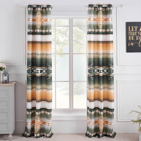 Greenland Home Fashions Zuma Grommet Top Curtains - 84 W x 84 L