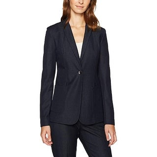 Link to T Tahari Women's Jacket Midnight Blue Size 12 Notch Collar 1 Button Similar Items in Women's Outerwear