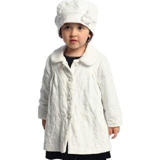 Angles Garment Toddler Little Girl White Swing Coat Hat Set 2T-8