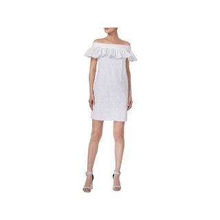 Calvin Klein Womens Petites Casual Dress Eyelet Off-The-Shoulder