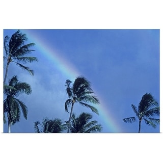 """""""Hawaii, Rainbow arching over palm trees in blue sky"""" Poster Print"""