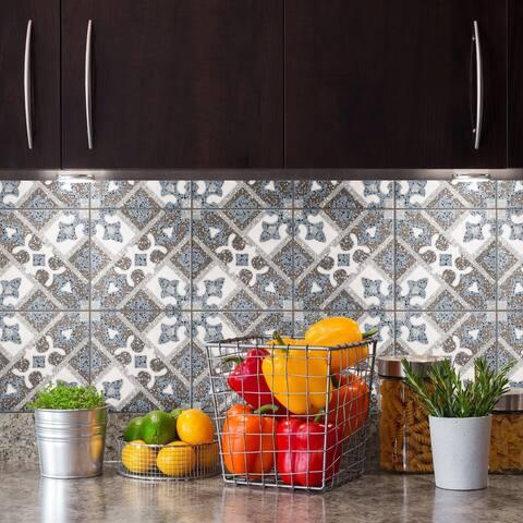 "SomerTile Atempo Palazzo Capri Encaustic 9.86"" x 9.86"" Porcelain Floor and Wall Tile - Case (16 Tiles)"