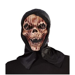 Hooded Skull Adult Costume Mask - TAN